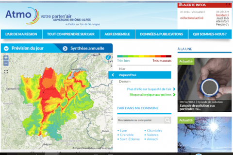 Air Rhône-Alpes Carte des pollutions